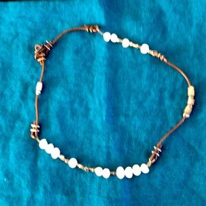 Silpada necklace leather and pearls